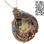 Lake Superior Agate Pendant in Copper with Blue Kyanite. Heather Jordan Jewelry