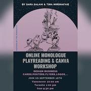 Monologue & Canva Workshop. Sara Salahi