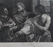 Le fils prodigue, de Domenico Cunego, d'après Guercino da Cento (Le Guerchin)..