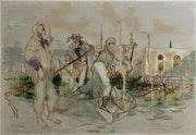 Venise, gondoliers par Lucien. Fontanarosa (1912-1975)..