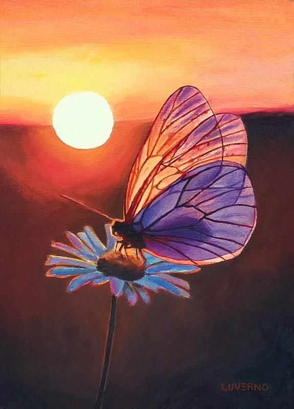 'La dernière caresse du soleil', papillon sur fleur de marguerite, peinture. Luverno Art Luverno Art