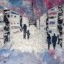 Peinture paysage urbain abstrait acrylique déco Honysky. Florence Féraud-Aiglin