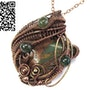 African Green Opal Pendant in Copper with Moss Agate. Heather Jordan Jewelry