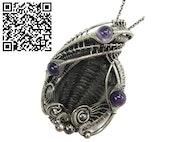 Trilobite Fossil Pendant with Amethyst, Calymene niagarensis Wire Wrap. Heather Jordan Jewelry