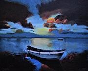 Sunset landscape painting, by joky kamo. Joky Kamo