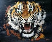 Tiger série faun'etik. Carine Lauber-Artiste Peintre