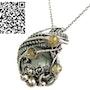 Aquamarine Pendant with Citrine, Sterling Silver Wire Wrap. Heather Jordan Jewelry