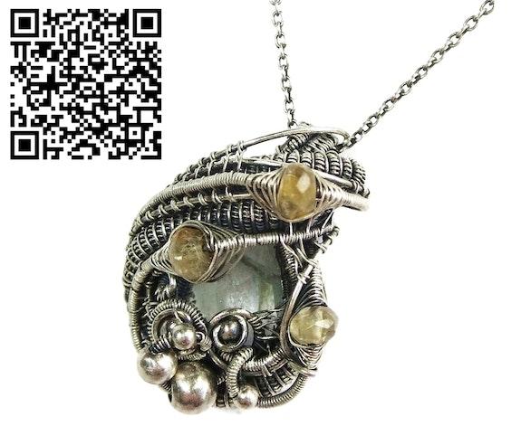 Aquamarine Pendant with Citrine, Sterling Silver Wire Wrap. Heather Jordan Heather Jordan Jewelry