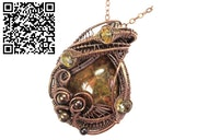 Lake Superior Agate Pendant in Copper with Citrine. Heather Jordan Jewelry