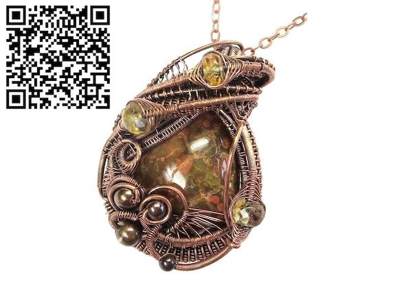 Lake Superior Agate Pendant in Copper with Citrine. Heather Jordan Heather Jordan Jewelry