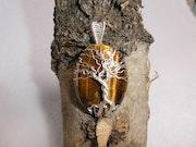 Arbre de vie sur pierre oeil de tigre 40x30mm. Pim