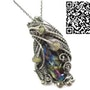 Sunshine Titanium Quartz Crystal Pendant with Ethiopian Welo Opals. Heather Jordan Jewelry