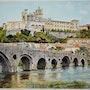 Cathédrale de Bézier et le vieux pont Romain. Gérard Bel