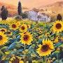 'La joie de vivre', paysage de champ de tournesol au coucher du soleil, peinture.
