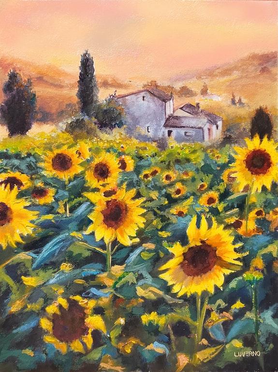 'La joie de vivre', paysage de champ de tournesol au coucher du soleil, peinture. Luverno Art Luverno Art
