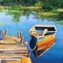 'Recuerdos de un día de junio', barco en un muelle, pintura al óleo del paisaje. Luverno Art