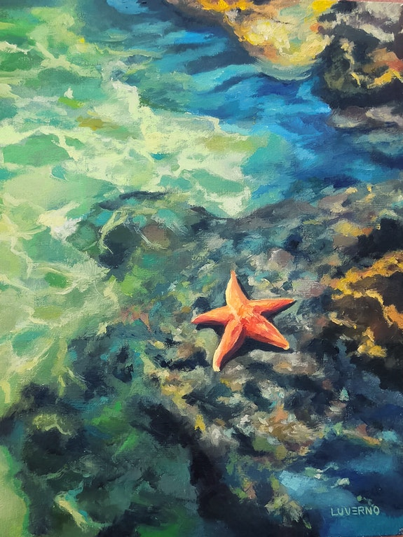 'Sunbathing', sea rocky coast scene with a starfish, oil painting. Luverno Art Luverno Art