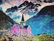 Église dans les montagnes. Martial Morisod (Diaz)