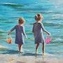 `Partage de chaque étape', portrait d'enfants filles jouant à la plage, peinture. Luverno Art