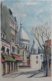 Montmartre, rue vers le Sacré Cœur, Georges Lambert (°1919 - + 1998), 1962.. Historien d'art, Archéologue; Chercheur Free-Lance (Er)
