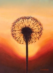 'Make a wish', dandelion silhouette at sunset, oil painting.