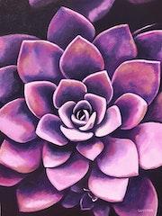 'Una geometría perfecta', planta suculenta morada, pintura al óleo floral. Luverno Art