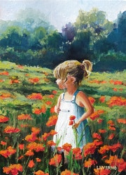 'Those wonderful years', child girl playing in a poppy field, painting.