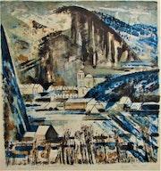 Ville en pays montagneux, par Jacques Petit (° 1925 -- + ? ), En 1961.. Historien d'art, Archéologue; Chercheur Free-L.