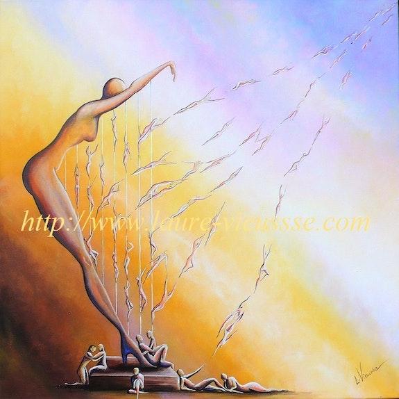 Aux Fils du Vent, tableau sur la femme et la musique harpe. Laure Vieusse Laure Vieusse