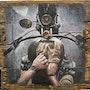 Biker's View - original oil painting on wood.