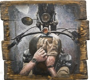Biker's View - original oil painting on wood. Van Chagov