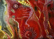 Ethnic red abstract painting. Annick Abrial