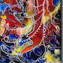 Modern and abstract painting Flamboyance. Annick Abrial