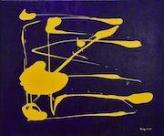 Jet jaune bleu. Sculpeinteconceptdany