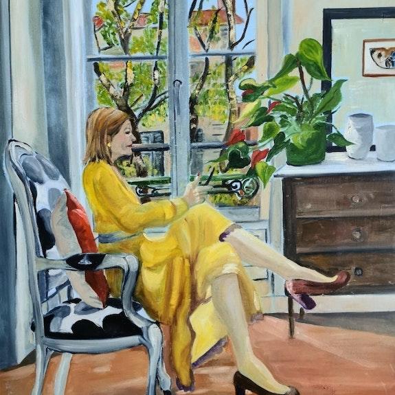 Autorretrato en vestido amarillo. Catherine Maury