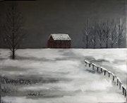 Soledad invernal. Paisaje nevado con casa roja. Oleo sobre lienzo..