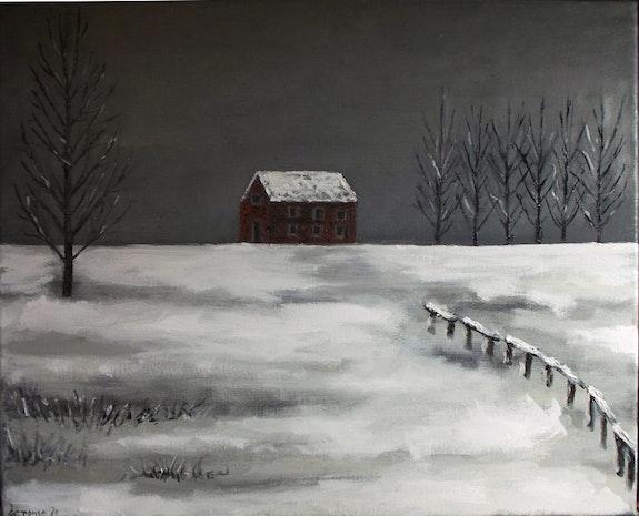 Soledad invernal. Paisaje nevado con casa roja. Oleo sobre lienzo..  Demonio - Yolanda Molina Brañas