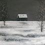 Soledad invernal. Paisaje nevado con casa azul. Oleo sobre lienzo.. Demonio - Yolanda Molina Brañas