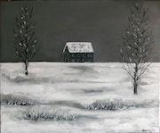 Soledad invernal. Paisaje nevado con casa azul. Oleo sobre lienzo..