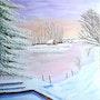 Cabane au bord du lac gelé. Rey