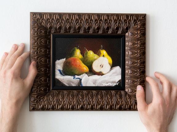 Original Oil Painting Still Life Pears - Framed Painting. Vanchagov Van Chagov