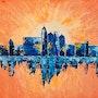 Peinture paysage urbain abstrait acrylique déco Viormilya. Florence Féraud-Aiglin