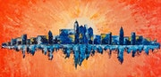 Peinture paysage urbain abstrait acrylique déco Viormilya.