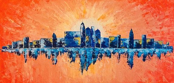 Peinture paysage urbain abstrait acrylique déco Viormilya. Florence Féraud-Aiglin Florence Féraud-Aiglin