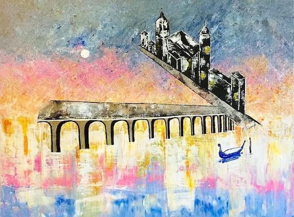 Peinture paysage urbain abstrait acrylique déco Malisqua. Florence Féraud-Aiglin Florence Féraud-Aiglin