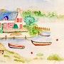 Aquarelle sur papier La Bretagne 3. Florence Féraud-Aiglin