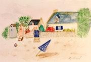 Aquarelle sur papier La Bretagne. Florence Féraud-Aiglin