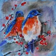 Birds oil art.