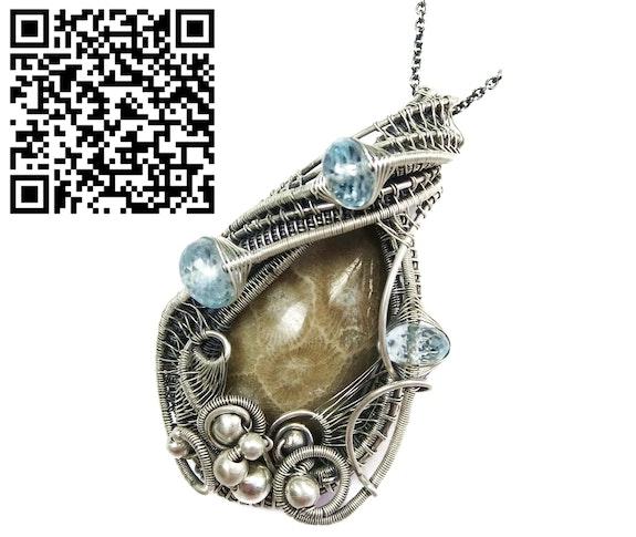 Petoskey Stone Wire-Wrapped Pendant with Blue Topaz. Heather Jordan Heather Jordan Jewelry