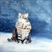 Un chat révant sous la neige.